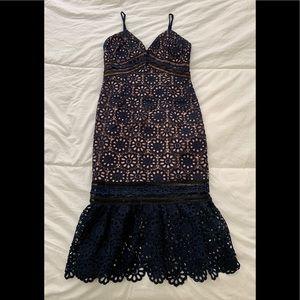 Aqua Navy Lace Mermaid Dress